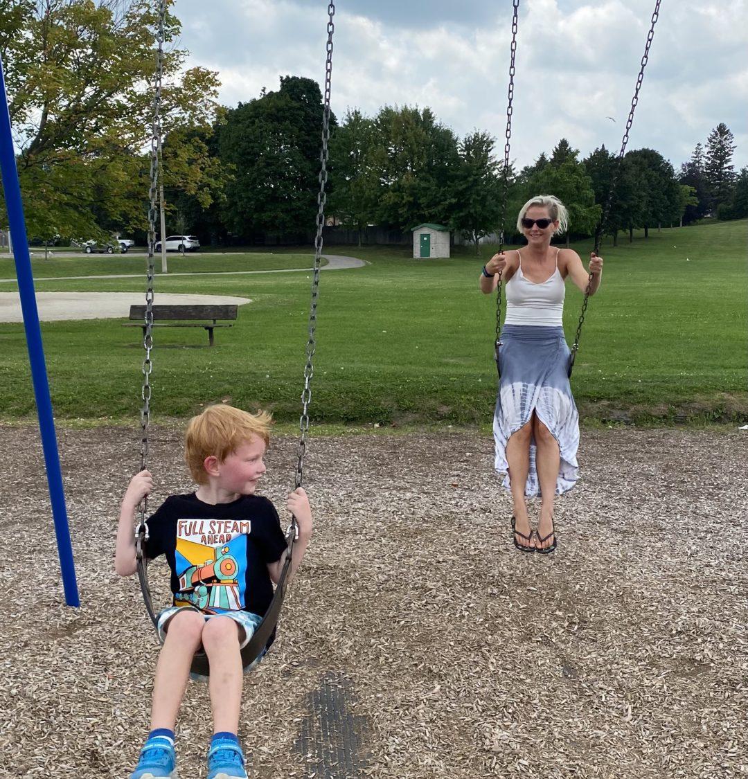 lindsy matthews, park, with son, breast cancer survivor, personal trainer